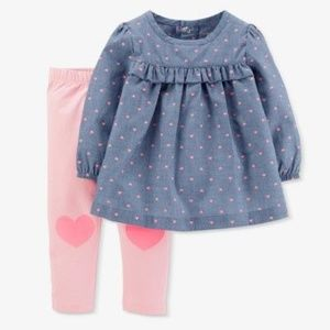 Other - Baby Girls' Hearts 2pc Chambray Pants Set
